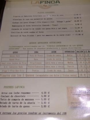 Carta del Agro Bar La Finca de Oviedo
