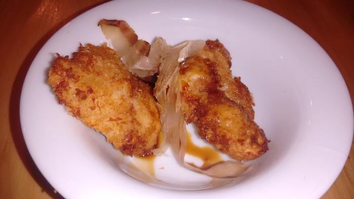 Cocochas de bacalao en tempura