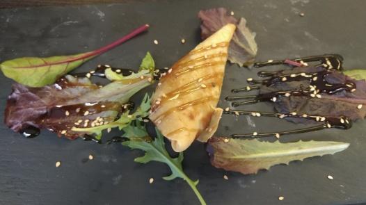 Tapa de Rollito de Primavera con salsa teriyaki