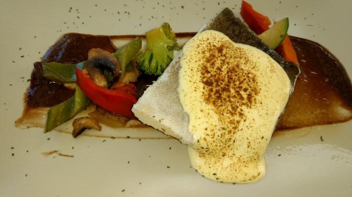 Bacalao confitado con verduras